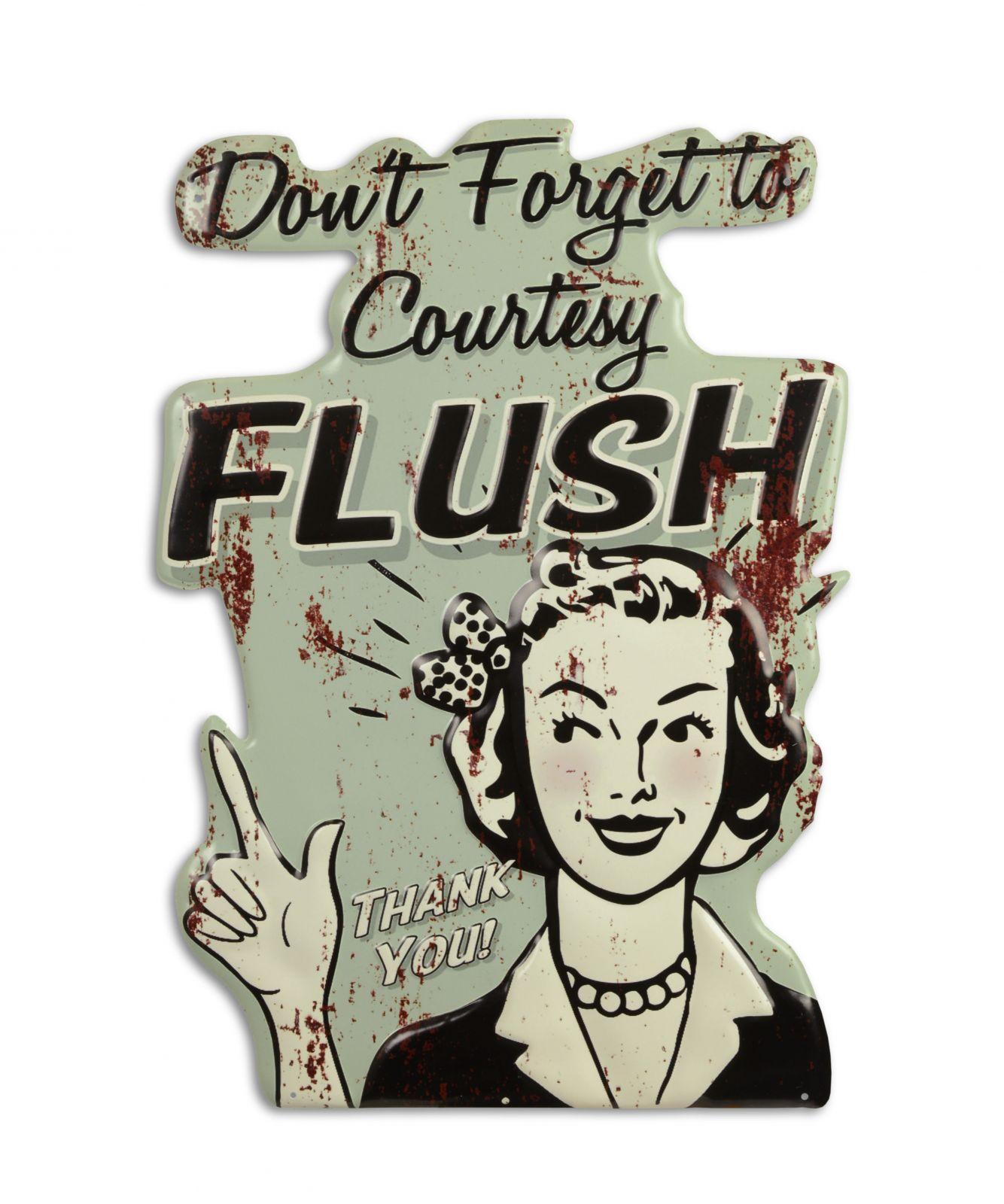 Ретро жестяная вывеска - COURTESY FLUSH Decosite