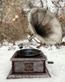 Квадратный ретро граммофон реплика - серебрянный