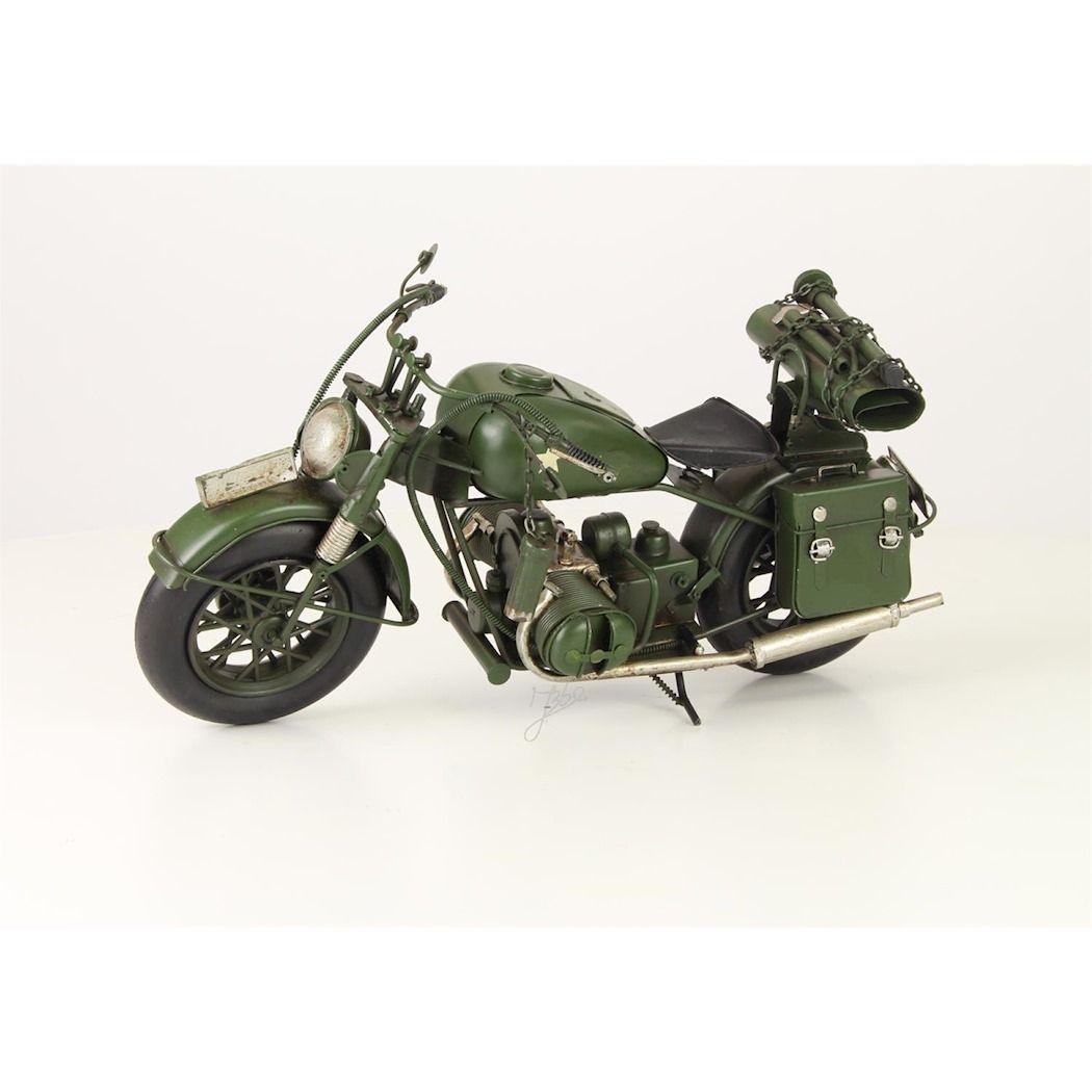 Металлическая модел военного мотоцикла